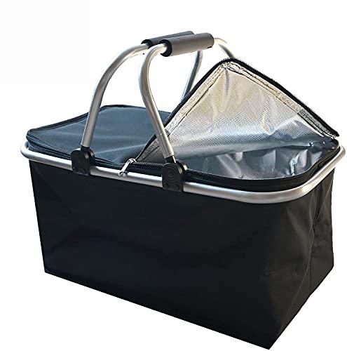 Einkaufskorb faltbar mit Kühlfunktion, Picknickkorb | Klappbar Thermokorb mit Deckel | Isolierkorb | Einkaufstasche mit Reißverschluss | Tragetasche | 30L (Reines Schwarz)