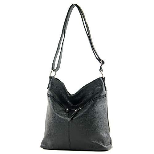 modamoda de - T196 - ital Umhängetasche Schultertasche aus Leder, Farbe:Schwarz