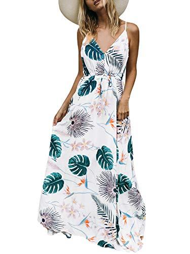 Auxo Vestido Largo Verano Mujer Impresión Floral Vestidos Bohemios Sin Mangas Cuello V Vestido Playa Largo Tirantes Blanco1 L