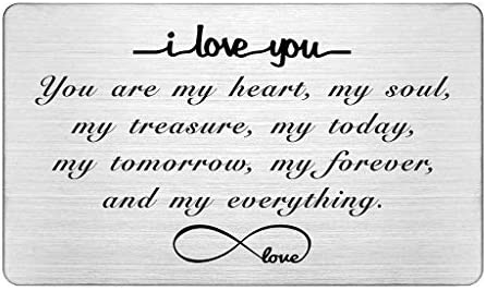 Engraved Wallet Insert Card I Love You Forever Anniversary Card Gifts Soulmate Gifts for Him product image