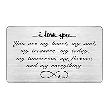 Engraved Wallet Insert Card I Love You Forever Anniversary Card Gifts Soulmate Gifts for Him Her Gifts for Boyfriend Husband Valentine s Gifts for Men Christmas Presents