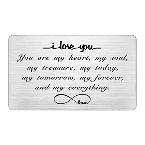 Engraved Wallet Insert Card, I Love You Forever, Anniversary Card Gifts, Soulmate Gifts for Him Her, Gifts for Boyfriend Husband, Valentine's Gifts for Men, Christmas Presents
