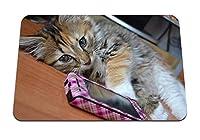 22cmx18cm マウスパッド (子猫テーブル嘘電話) パターンカスタムの マウスパッド