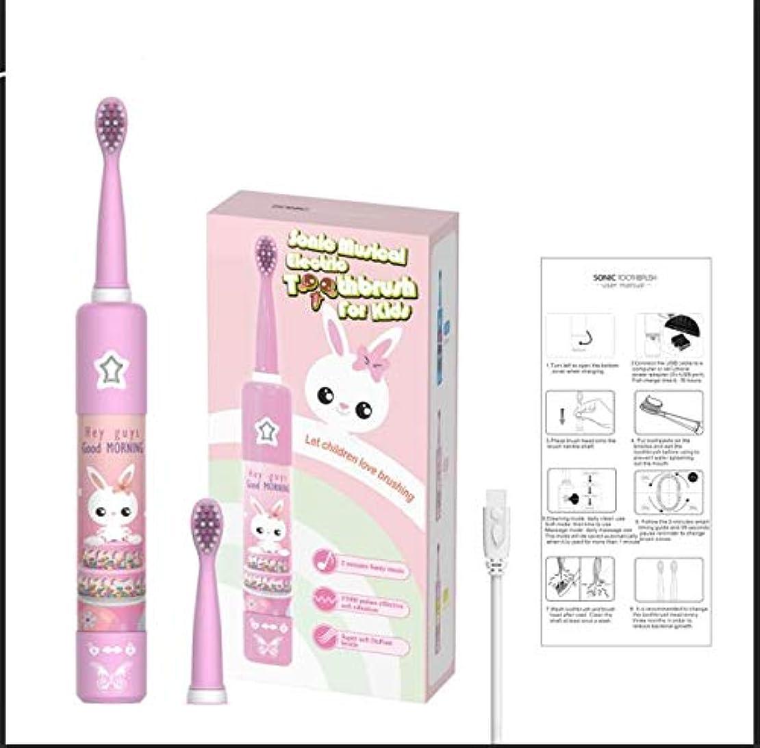 かけがえのない枯れるハンディ承認スマートタイマーUSB充電電動ソニック自動IPX7子供子供旅行歯ブラシセット + 2つの交換ヘッド (pink)