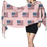 Bufandas de mujer invierno largo suave cálido bandera americana bandera USA Merica diseño patriótico 4 de julio rosa cachemira como pashmina chales envuelve borla chal estola bufanda