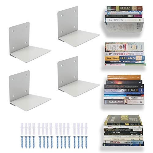 Eapele Invisible Floating Book Shelves for Wall, Steel Constructed Hidden Conceal Bookshelf with...