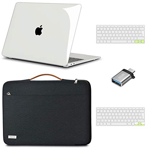 TECOOL Custodia MacBook Air 13 Pollici 2020 2019 2018 (A2337 M1/A2179/A1932),Custodia Rigida & Custodie morbide & Tastiera Cover & Adattatore USB per Mac Air 13.3 Touch ID - Chiaro & Nero