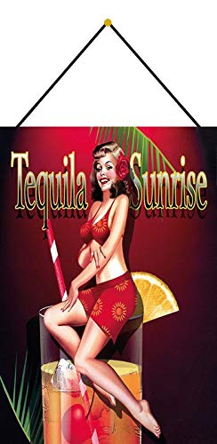 Metalen bord 20x30cm gebogen met koord Tequila Sunrise Cocktail Sexy Pinup Deco Gift Schild pin up Tin Sign