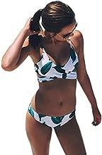 CUPSHE Women's Fresh Leaves Printing Cross Padding Bikini Set (M)