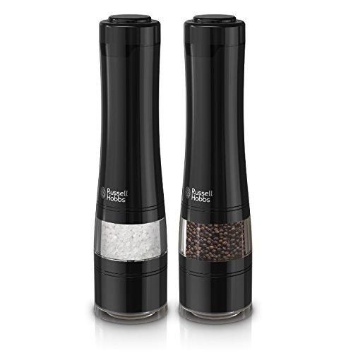 Russell Hobbs RHPK4100BLK Electric Salt & Pepper Mill Set with Adjustable Coarseness, Set of 2 Grinders, Black