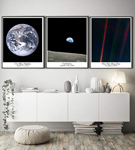 The Pale Blue Dot Earthrise The Blue Marble Photos inspirierender Weltraum Wandkunst
