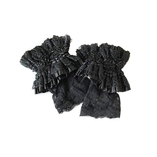 Gothic Steampunk Handschuhe Für Frauen Lolita Kurze Spitze Handgelenk Länge Floral Schwarz Halbe Finger Festival COS Party Hochzeit