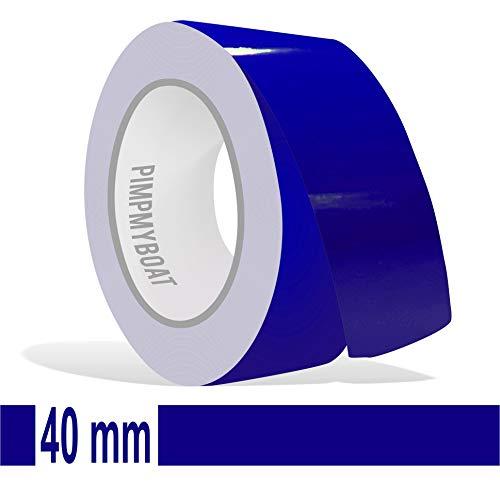 Siviwonder Zierstreifen Royalblau in 40 mm Breite und 10 m Länge Folie Aufkleber für Auto Boot Jetski Modellbau Klebeband Dekorstreifen königsblau royal blau