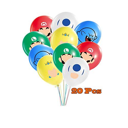 Globos de Super Mario Bros Globos de Mario Bros para fiestas suministros de Mario decoraciones de fiesta para niños, adolescentes y adultos, paquete de 20