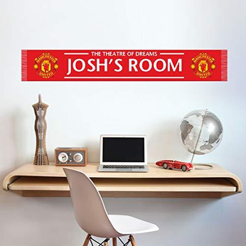 Beautiful Game Ltd Manchester United Football Club Officiel personnalisé Barre Écharpe Sticker Mural 120cm x 20cm