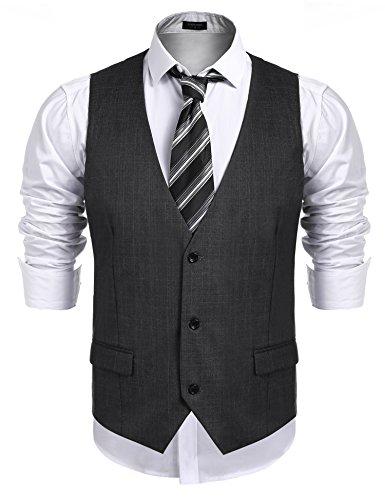 Burlady Weste Herren Anzug Western Weste Ärmellose V-Ausschnitt Slim fit Anzugweste Business Hochzeit Braun S