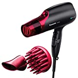 Panasonic Nanoe Hair Dryer, 1875 Watt Professional Blow Dryer for Smooth, Shiny Hair with 3 Attachments Quick Dry Nozzle, Diffuser and Concentrator Nozzle – EH-NA65-K (Black/Pink)