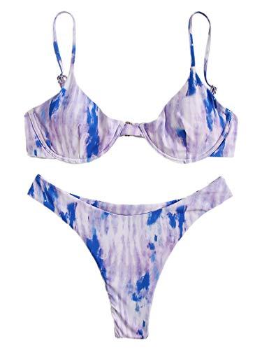 SweatyRocks Women's Sexy Bathing Suits Spaghetti Strap Tie dye Bikini Set Underwire Swimsuit Multi-2 Small