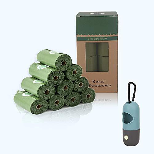 Bolsas para caca de perro Bolsa de basura para mascotas con olor a lavanda, degradable, ecológica, gruesa y resistente al desgaste Equipada con distribuidor LED gratuito para caminar de noche