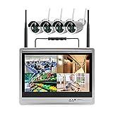 Kit Videosorveglianza WiFi, 4CH HD Sistema di Videosorveglianza NVR con monitor LCD da 12