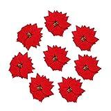 ABOOFAN Lot de 50 poinsettia artificielles pour décoration de sapin de Noël, maison, porte, centre de table, arrangements décoratifs