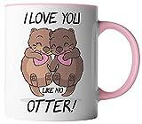 vanVerden Tazza con scritta in lingua inglese 'I love you like no Otter!' - con scritta in lingua tedesca - idea regalo - Tazza da caffè, colore: bianco/rosa