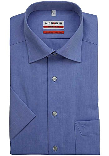 MARVELIS Modern Fit Hemd Halbarm New Kent Kragen, Mittelblau, 44
