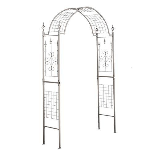 HRXQ 225cm Eleganti Arco da Giardino in Ferro, Pergolato Arco per Rampicanti da Giardino Decorazione per Varie Piante Rampicanti Prato Cortile, Bianco