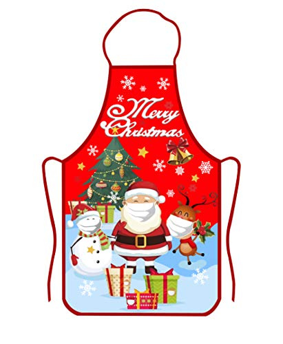 Christmas Apron, Funny Cartoon Apron Style Christmas Santa Claus/Elk/Snowman with mask for Christmas Dinner Party, Cooking, Baking, BBQ, Crafting, House Cleaning, Kitchen (Mask)