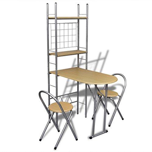 Anself Essgruppen Esszimmertisch aus Stahl mit 2 Stühlen einklappbar