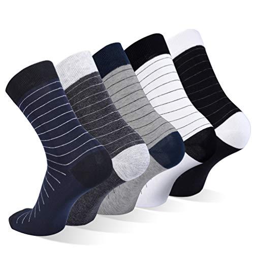VBIGER Calcetines de Algodón para Hombre Calcetines hasta la Pantorrilla para Primavera Verano Otoño e Invierno, 5 Pares