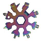 Llavero de nieve 19 en 1 Herramientas Llaves de múltiples herramientas Combinación de acero inoxidable Forma de nieve Copo de nieve portátil para exteriores - Colorido