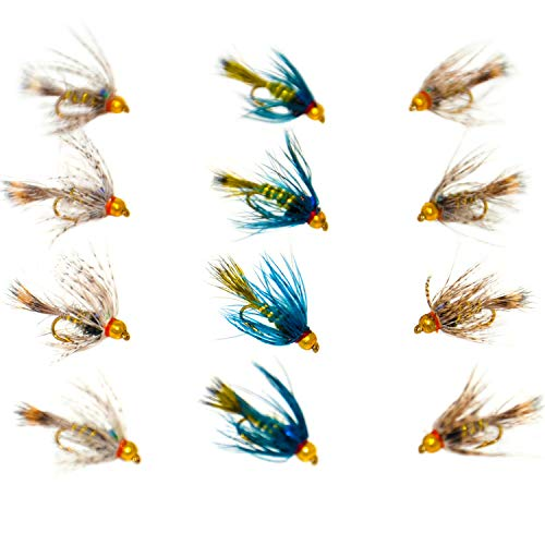 Outdoor Planet 12 Guide's Choice Hare's Ear/Beadhead Soft Hackle Hare's Ear Nymph Flies Wet Flies for Trout Fly Fishing Flies Lure Assortment