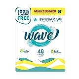 Wave Washing Classic – El Detergente en Hojas – 100% LIBRE DE PLÁSTICO – Multipack S - 48 lavados – Ecológico – Biodegradable – Compostable