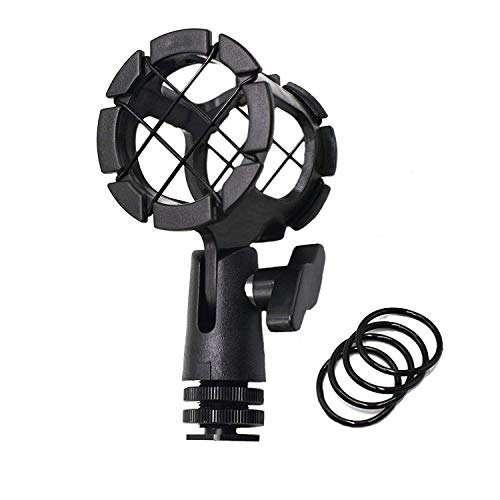 AFVO Microhone Shock Mount Holder Mic Cradle with Cold Shoe for Boompoles, for Shotgun Mics, Compatible with Rode NTG1, NTG2, NTG3, for Sennheiser ME66, for Audio-Technica AT897 etc