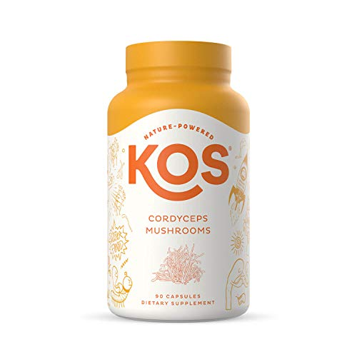 KOS Organic Cordyceps Capsules - Potent, Dual-Extracted Cordyceps Militaris Capsules - Endurance & Energy Supplement, Immune Support - 1500 mg, 90 Capsules
