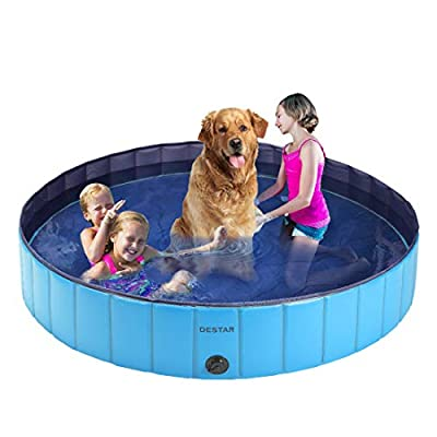 DEStar PVC Foldable Pet Swimming Pool Outdoor Bathtub with Protective Lining for Dogs and Kiddies 5.3ft Diameter Blue