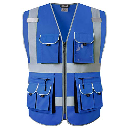 JKSafety 10 Pockets Blue Color Safety Vest Zipper Front with High Reflective Strips Meets ANSI/ISEA Standards (Blue, X-Large)