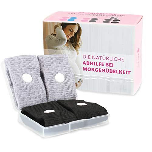 Cozy Racoon Akupressur Armband gegen Übelkeit in der Schwangerschaft I Effektiv und ohne Nebenwirkungen I Praktische Transportbox I 4 Stück (2x Schwarz, 2x Grau)