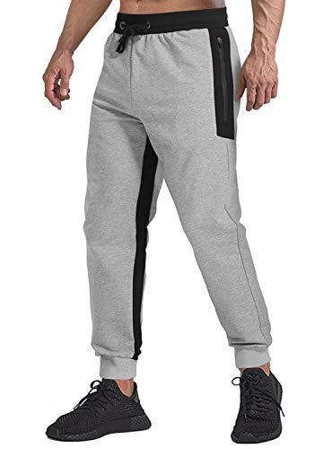 TACVASEN Men's Pants Running Performance Cotton Knit Pants Elastic Waist, Gray, 36