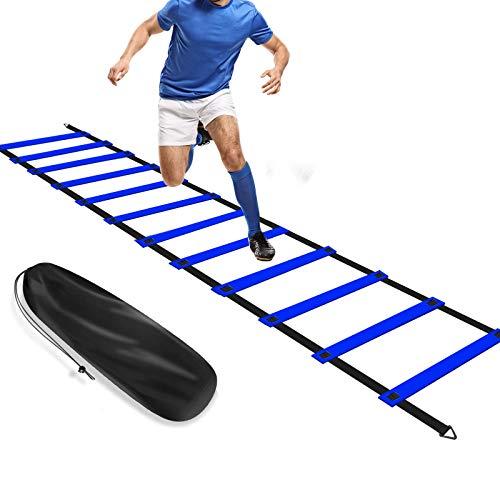 FBSPORT Koordinationsleiter, Trainingsleiter 6M 12 Sprossen für Fußball Training, Agility Ladder verstellbar Sport Leiter für Kinder Erwachsene mit Tasche