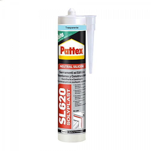 Pattex SL 620 Serramenti ed Edilizia Sigillante trasparente, Silicone per lattoneria, serramenti, ecc., Sigillante impermeabile per materiali vari, cartuccia da 300 ml