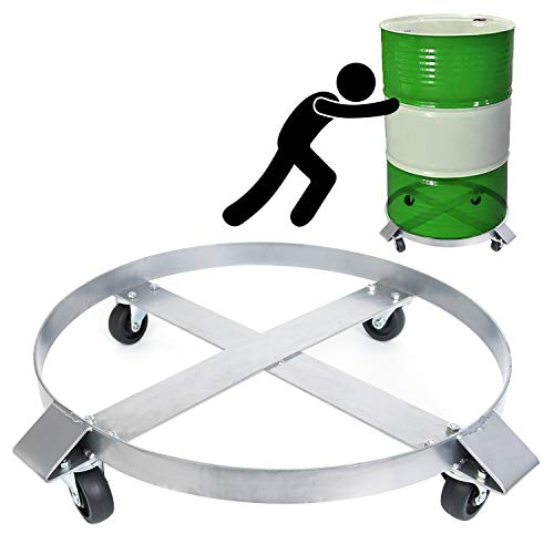 Drum Dolly 55 Gallon Heavy Duty 1000 Pound Barrel Dolly with Swivel Casters Wheel Steel Frame Dolly Non Tipping Hand Truck Capacity Dollies