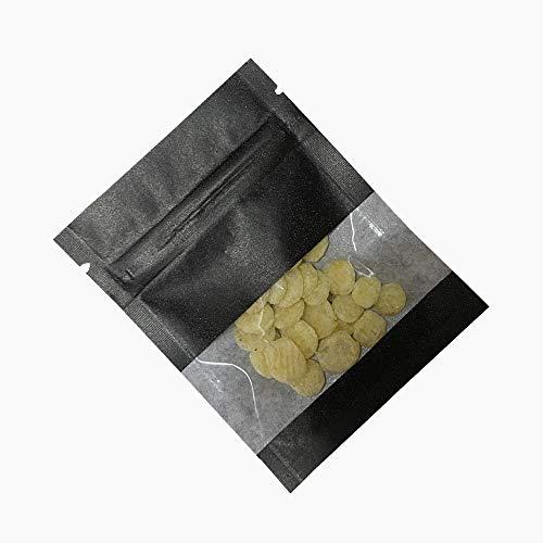 100 Stücke Reißverschluss Heißsiegel Kraftpapier Aufbewahrungstasche Verpackung mit Tränenkerbe Feuchtigkeitsdichten Beutel mit Durchsichtigen Kunststoff Fenster (Schwarz, 7x9cm (2.7x3.5 Zoll))
