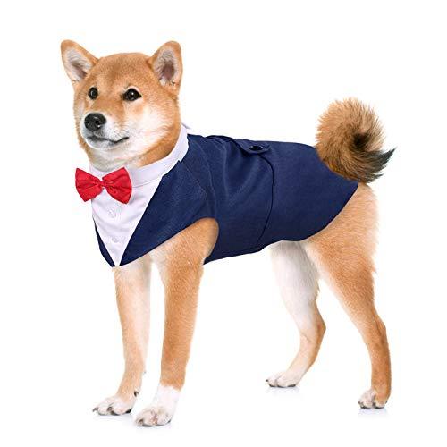Kuoser Traje de Esmoquin para Perros de Tamaño Pequeño/Mediano/Grande, Ropa para Mascotas, Camisa para Cachorros con Lazo Rojo Extraíble, Disfraz Formal para Bodas y Festivales