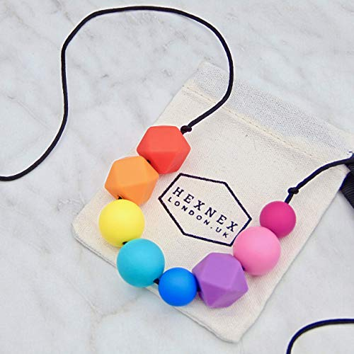 Bright Rainbow Silicone Teething Necklace for Breastfeeding and Baby Wearing New Mum Gift Baby Shower Present Chew Jewellery