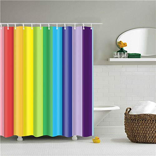 Nordic Style Geometric Stripe Wave Shower Curtains Frabic Waterproof Polyester Bathroom Curtain...