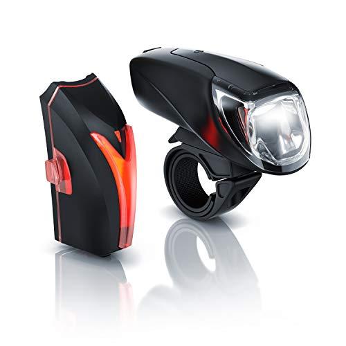 CSL - LED Akku Fahrradbeleuchtung Set StVZO - Fahrradlampen-Set - Vorderlicht und Rücklicht - zugelassen nach StVZO - Schnellbefestigung - Befestigungs-Clip - Fahrradlicht Fahrradlampe Fahrradleuchte