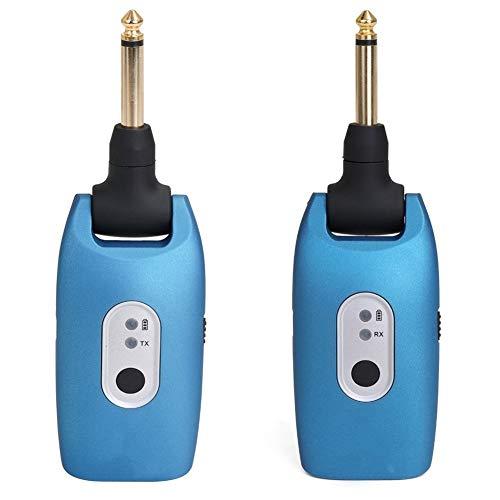 2.4G Wireless Guitar System E-Gitarren Sender und Empfänger Set eingebaute wiederaufladbare Batterie 30M Übertragungsbereich Musikinstrumententeile (Color : Blue)