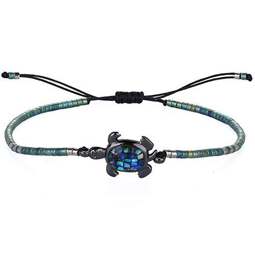 KELITCH Abalone Shell Perlen Armband Einstellbar Knoten Schildkröte Anhänger Samen Perlen Wrap Armband Freundschaft Schmuck (Grün)